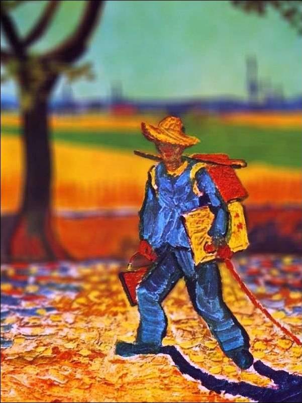 tilt shift van gogh the painter on his way to work painting Amazing Tilt Shift Van Gogh Paintings [16 Pics]