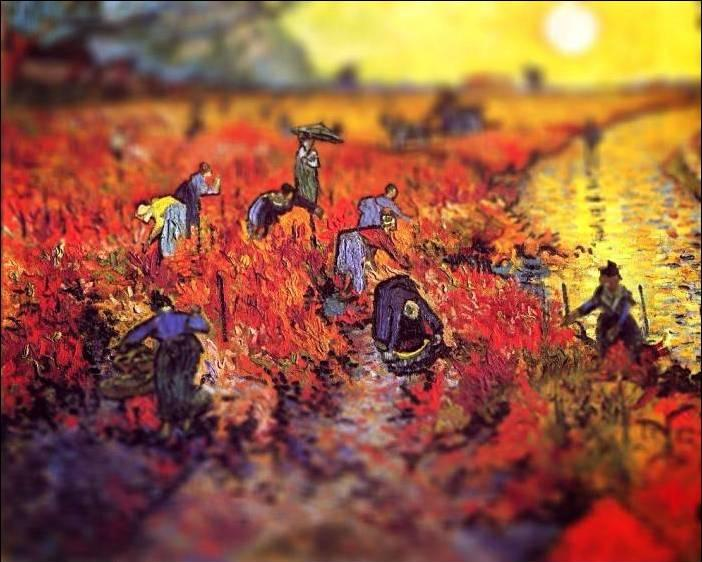 tilt shift van gogh the red vineyard painting Amazing Tilt Shift Van Gogh Paintings [16 Pics]
