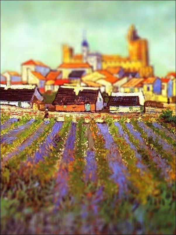 tilt shift van gogh view of saintes maries painting Amazing Tilt Shift Van Gogh Paintings [16 Pics]