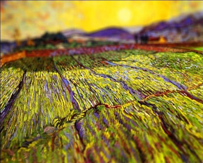 tilt shift van gogh wheat field with rising sun painting Amazing Tilt Shift Van Gogh Paintings [16 Pics]