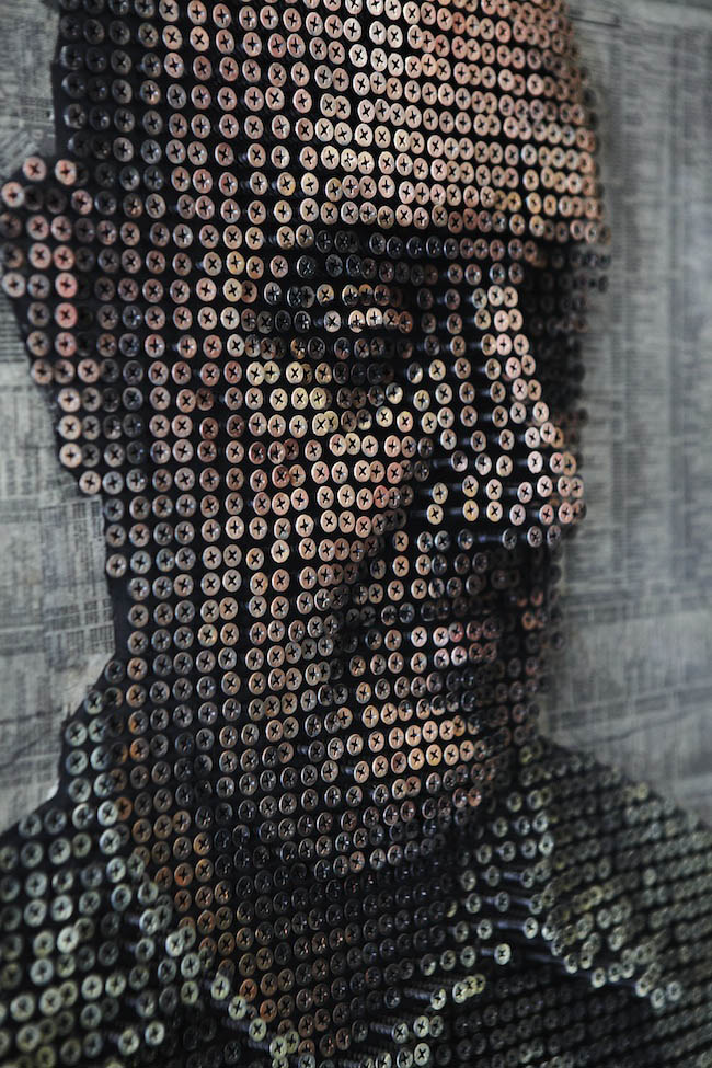 3d protraits using screws andrewy myers sculptures 11 Kinetic San Francisco by Scott Weaver: 35 Years & 100,000 Toothpicks