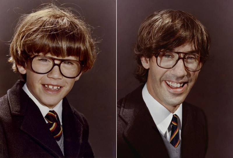 recreating childhood photos irina werning 22 Teacher Wears Same Outfit in 40 Consecutive Yearbook Photos
