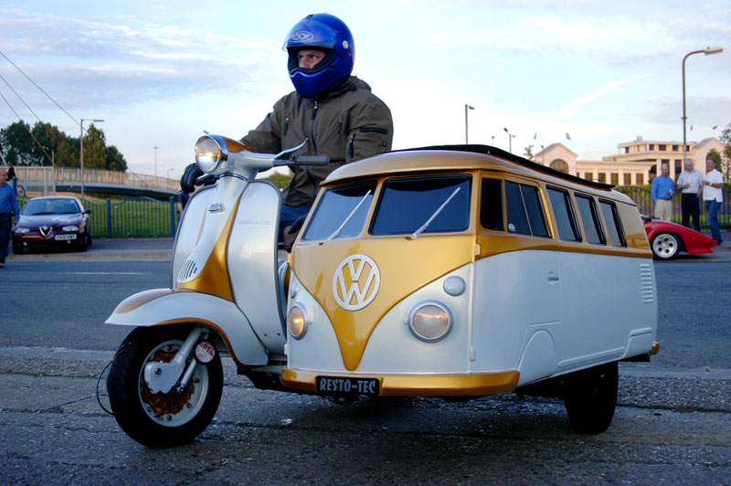 vw sidecar can scooter bus Picture of the Day: Best. Sidecar. Ever.
