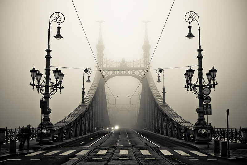 foggy bridge in budapest hungary Picture of the Day: Into the Fog