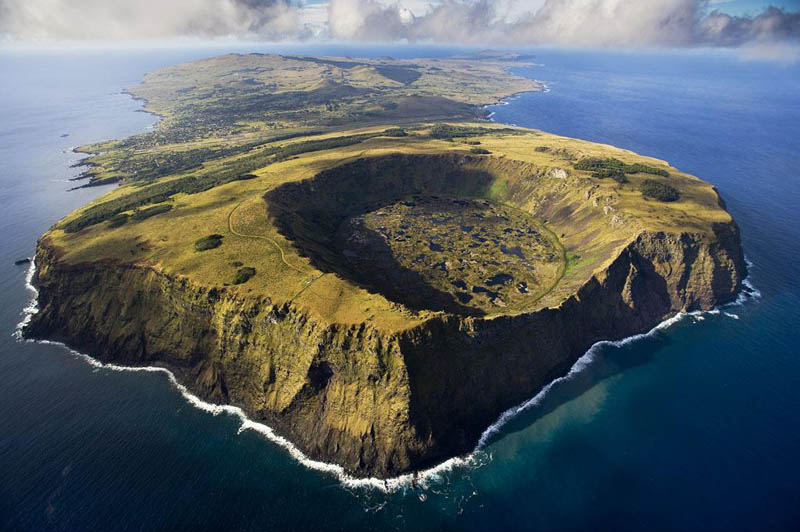 rano kau volcano in rapa nui national park easter island chile Seeing the World Through an Airplane Window