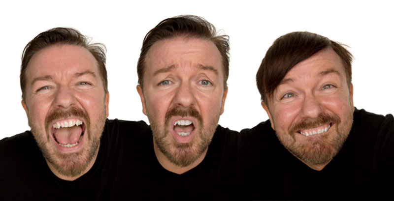 ricky gervais acting in character Funny Faces: Famous Actors Acting Out [20 Pics]