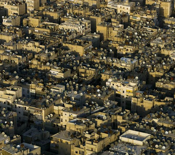 Satellite dishes on the roofs of Aleppo, Syria
