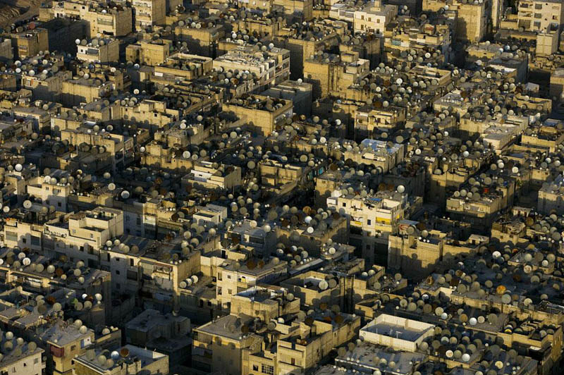 satellite dishes on the roofs of aleppo syria 25 Mind Blowing Aerial Photographs Around the World