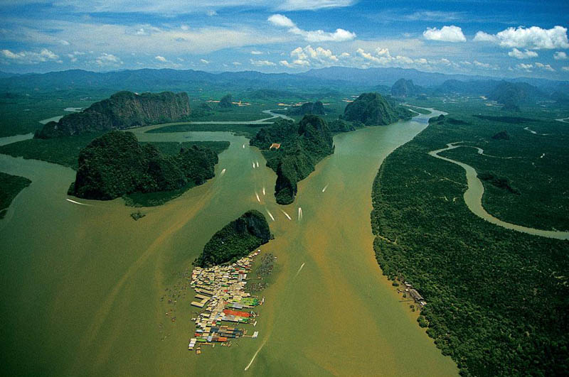 village of koh panyi phang nga bay thailand 25 Mind Blowing Aerial Photographs Around the World