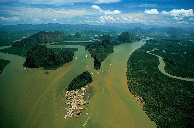village of koh panyi phang nga bay thailand 25 Mind Blowing Aerial Photographs Around the World