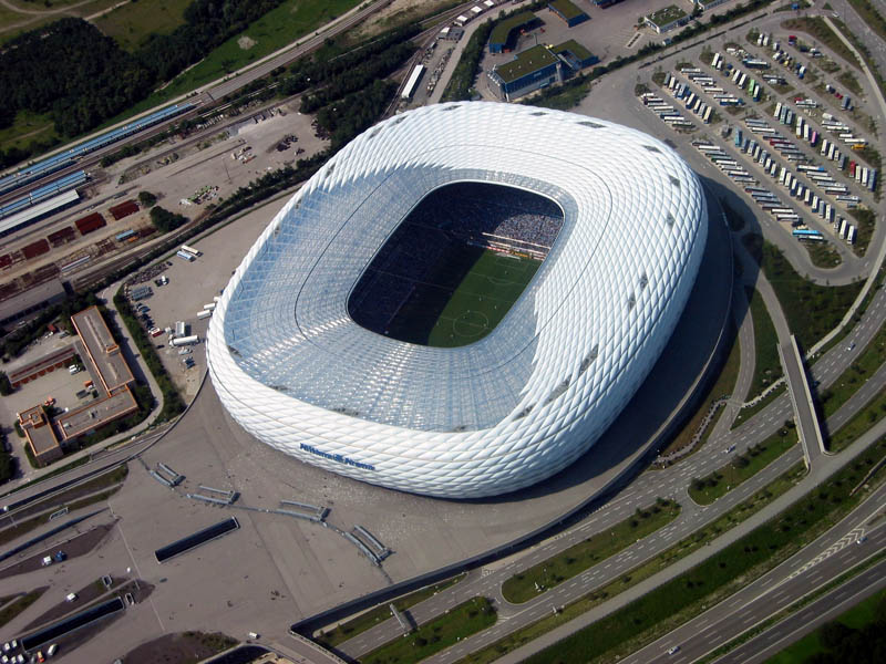 allianz arena aerial munich germany 25 Incredible Aerial Photos of Stadiums Around the World