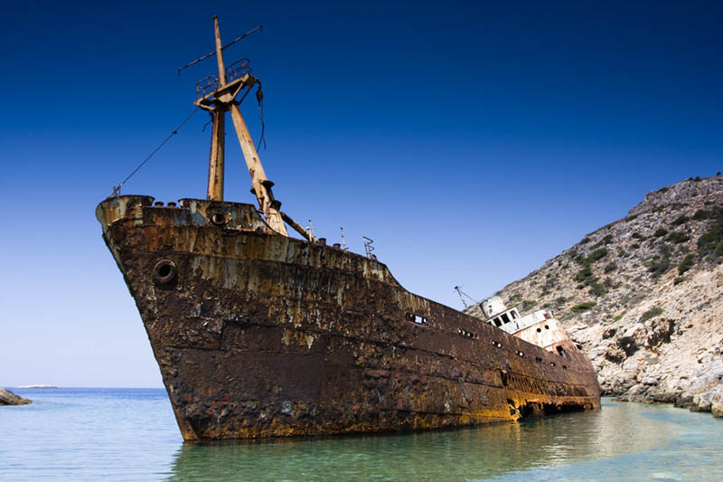 amorgos island greece shipwreck 25 Haunting Shipwrecks Around the World