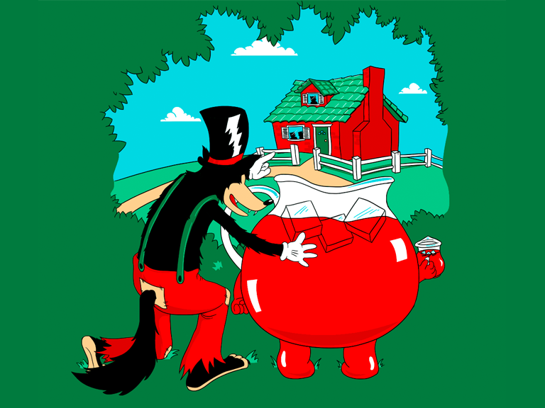 big bad wolf and kool aid man funny Picture of the Day: The Big Bad Wolf Finds An Accomplice