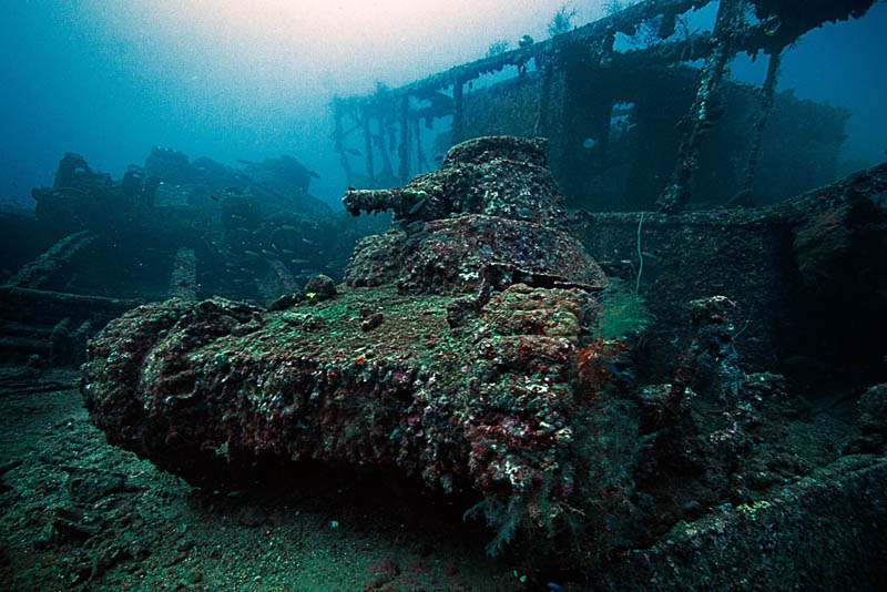 light tank on the deck of the san francisco maru at about 50m depth in truk lagoon 25 Haunting Shipwrecks Around the World