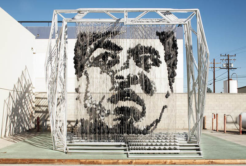 muhammad ali made out of punching bags michael kalish la nokia plaza 3 Picture of the Day: Float Like A Punching Bag