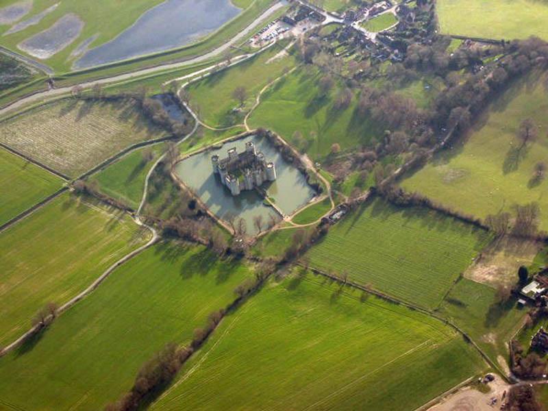 aerial photo of bodiam castle 20 Impressive Moats Around the World