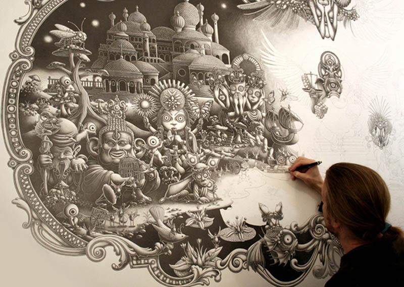joe fenton artist large drawing 4 Incredible Portraits Made From A Single Pen Stroke
