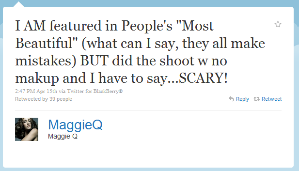Maggie Q Humblebrag The  Funniest Humble Brags On Twitter