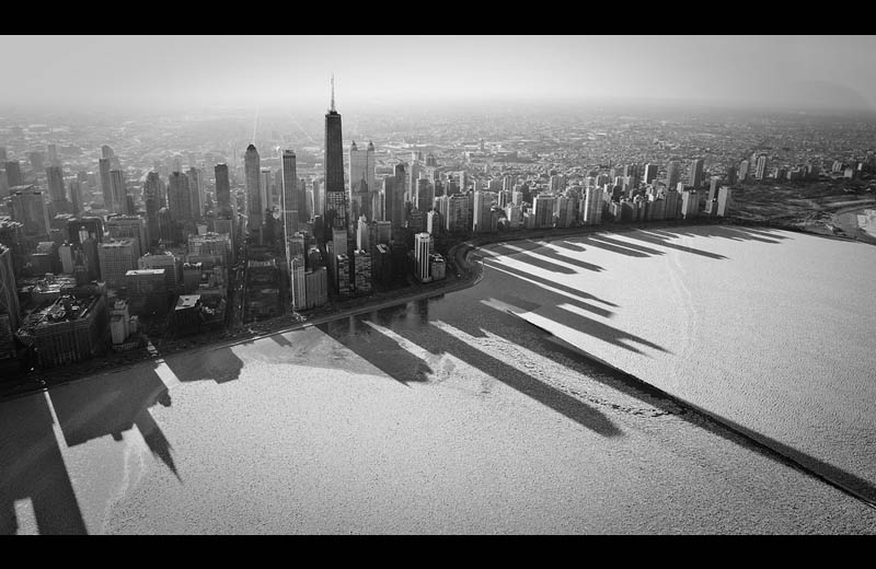 aerial chicago shadow of buildings on lake michigan Picture of the Day: Shadowy Chicago