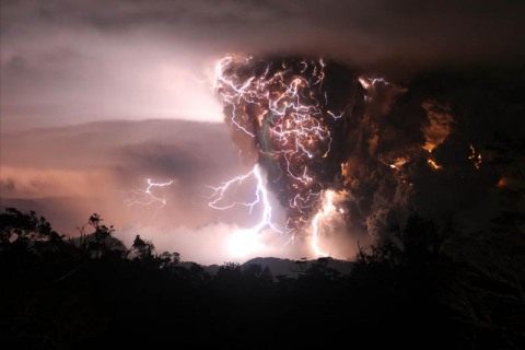 lightning and eruption at Chaiten Volcano Chile