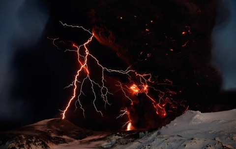 volcanic eruption and lightning