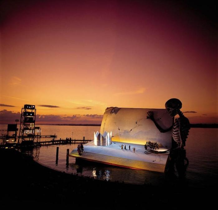 bregenz opera on the lake a masked ball giuseppe verdi giant skeleton book stage Highlights from Burkina Fasos Festival of Masks