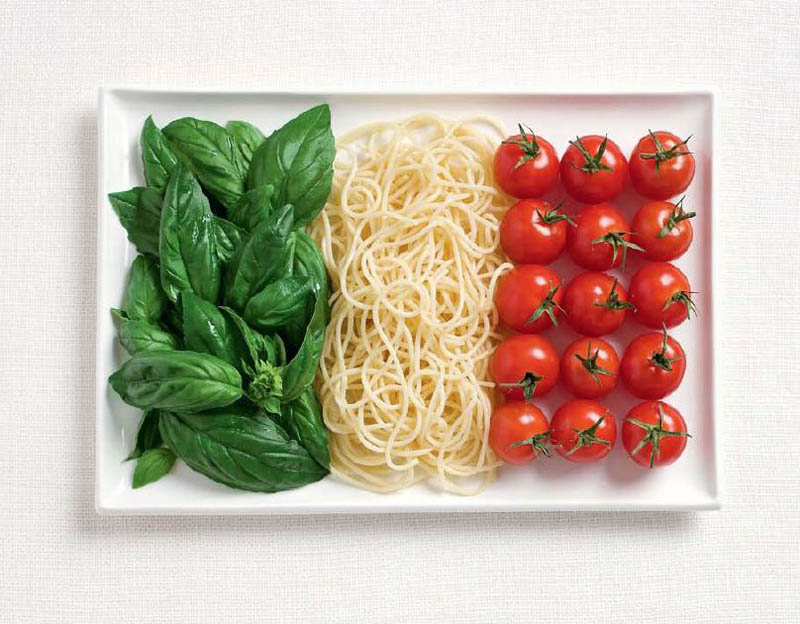 italy flag made from food Creative Food Art Portraits by Hong Yi
