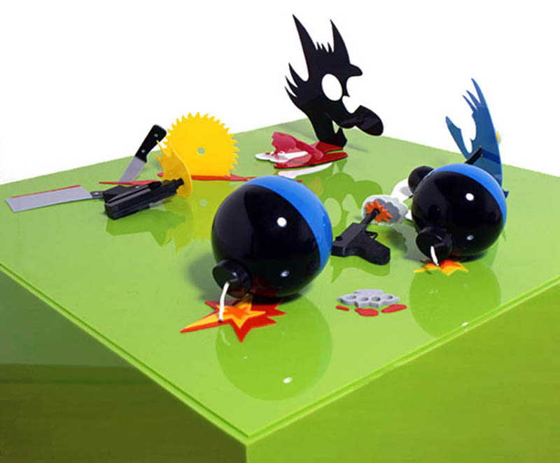 itchy and scratchy perspective sculptures james hopkins 1 Awesome Cartoon Perspective Sculptures by James Hopkins