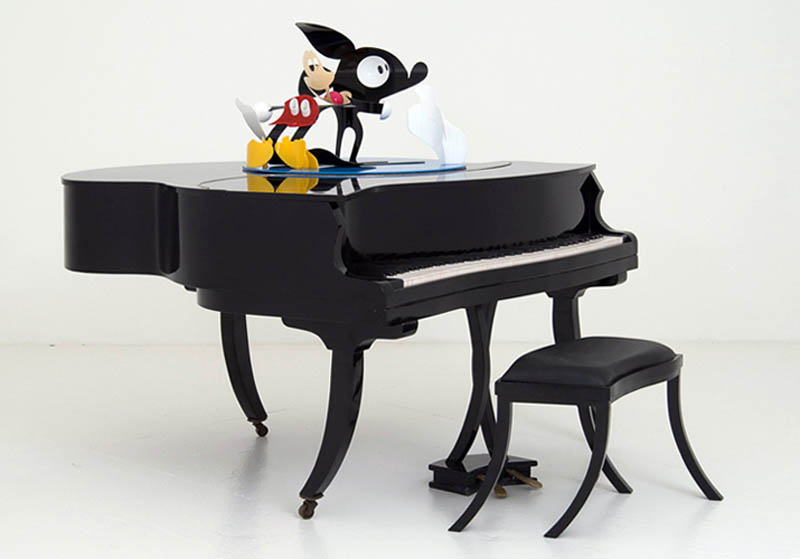 mickey mouse wobbly piano perspective sculpture james hopkins 4 Awesome Cartoon Perspective Sculptures by James Hopkins