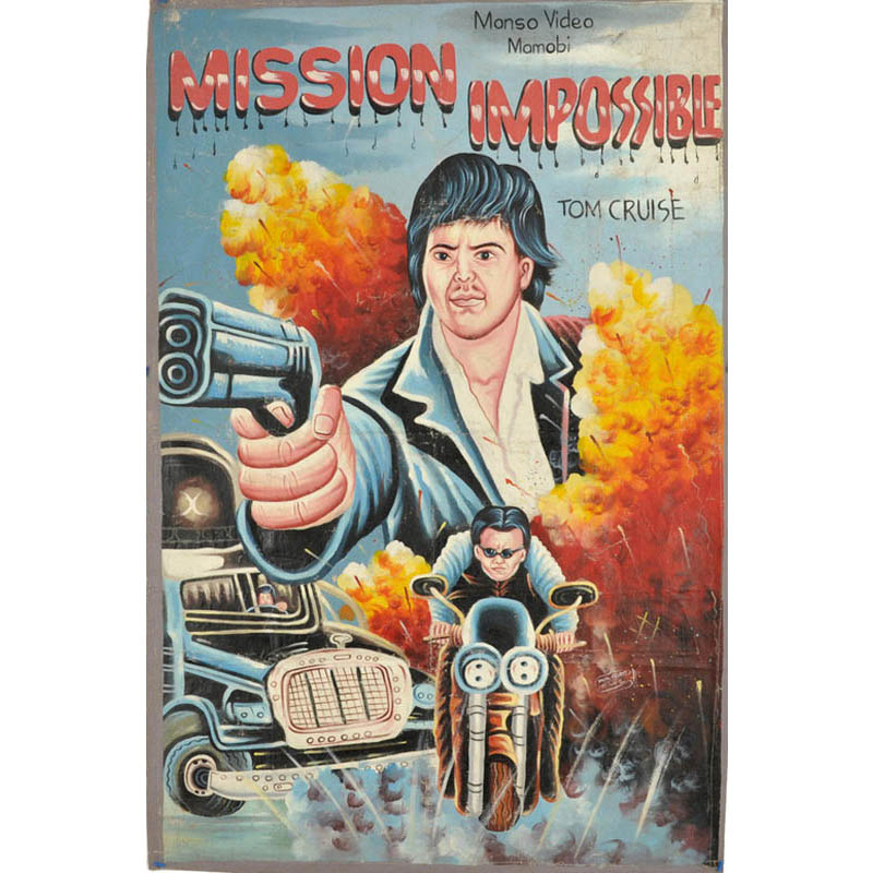 mission impossible bootleg movie poster from ghana This Guy Paints Random Characters Into Old Thrift Store Paintings
