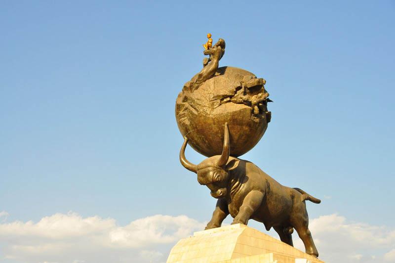 ashgabat earthquake 1948 memorial bull world on horns This Day In History   October 5th