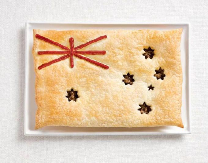 オーストラリアの国旗が食品から作られた18国旗が食品から作られた