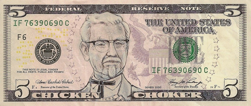 colonel sanders kfc dollar bill currency cash art This Artist Transforms US Banknotes Into Hilarious Portraits