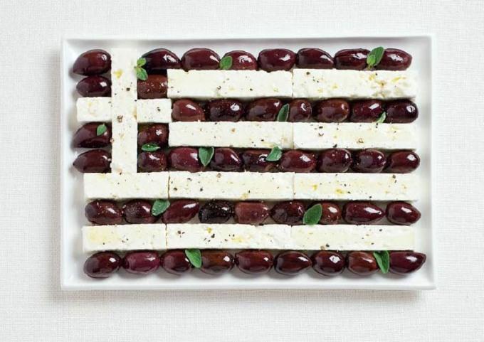 食品から作られたギリシャの国旗食品から作られた18の国旗