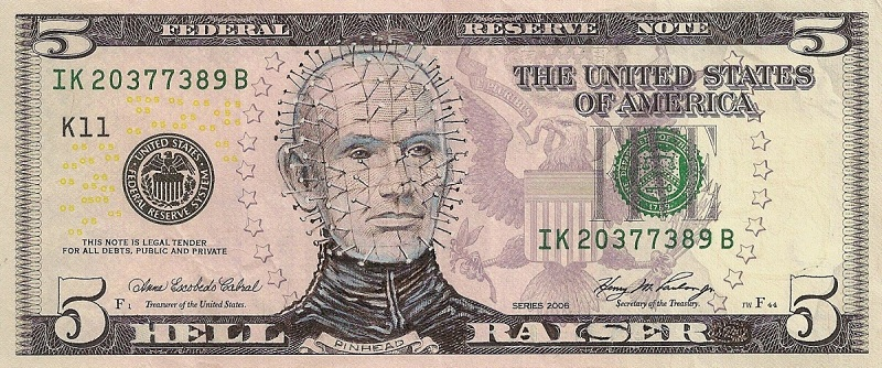 hellraiser dollar bill currency cash art This Artist Transforms US Banknotes Into Hilarious Portraits