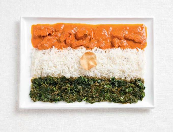 食品から作られたインドの国旗食品から作られた18の国旗