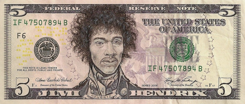 jimi hendrix dollar bill currency cash art This Artist Transforms US Banknotes Into Hilarious Portraits