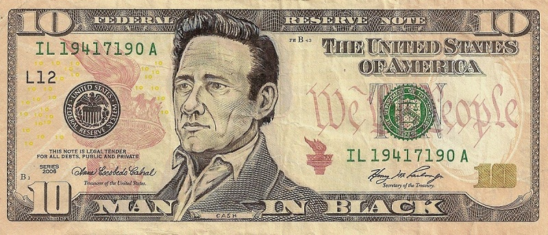 johnny cash dollar bill currency cash art This Artist Transforms US Banknotes Into Hilarious Portraits