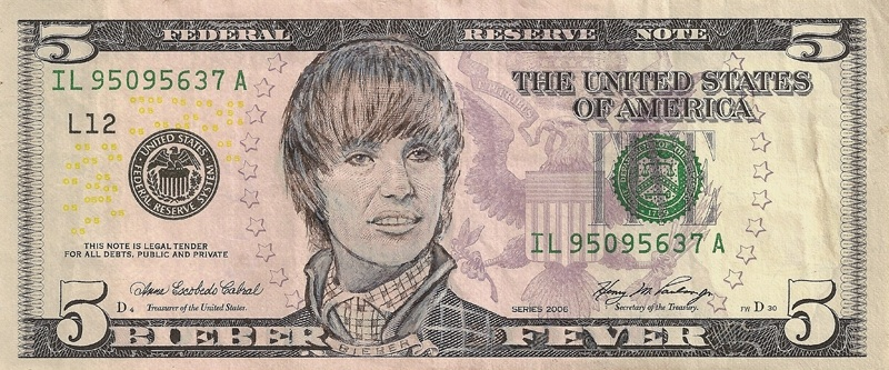 justin bieber dollar bill money cash currency art This Artist Transforms US Banknotes Into Hilarious Portraits