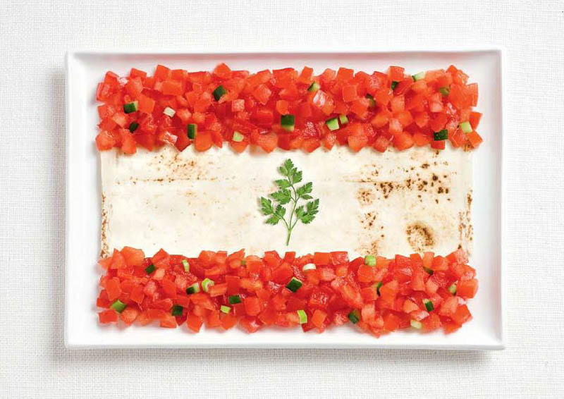 lebanon flag made from food 18 National Flags Made From Food