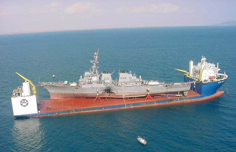 mv blue marlin carrying uss cole after suicide attack big hole in ship This Day In History   October 12th