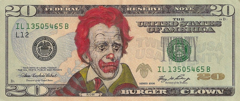 ronald mcdonald dollar bill currency cash art This Artist Transforms US Banknotes Into Hilarious Portraits