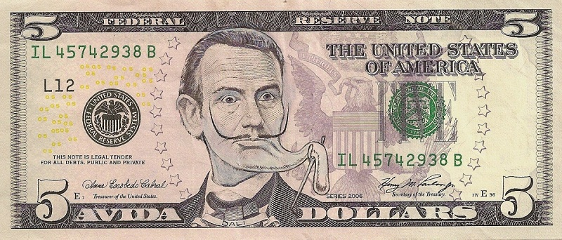 salvador dali dollar bill currency cash art This Artist Transforms US Banknotes Into Hilarious Portraits