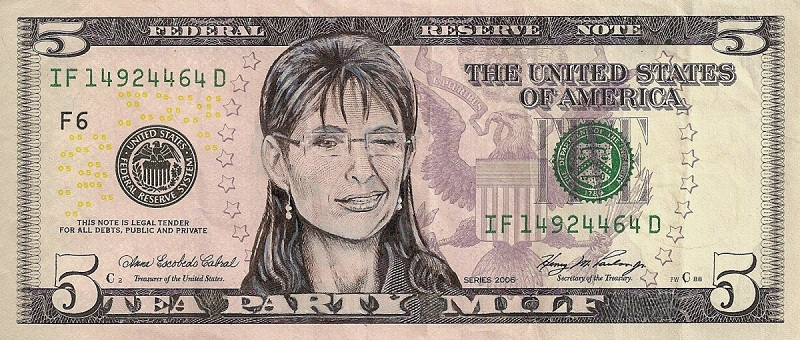 sarah palin dollar bill currency cash art This Artist Transforms US Banknotes Into Hilarious Portraits