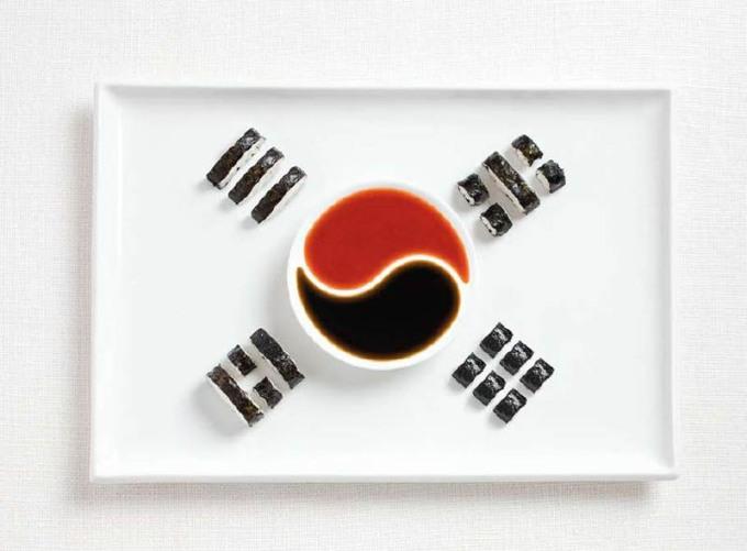 韓国の食品から作られたフラグ18食品から作られた国旗