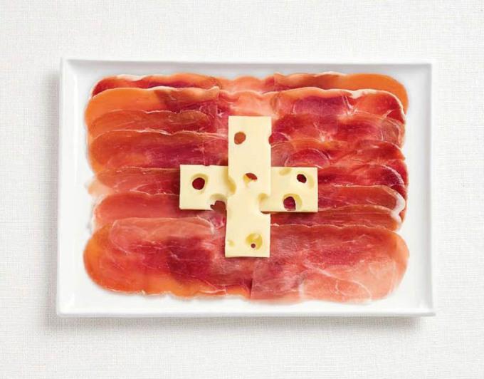 スイス連邦共和国の国旗食品から作られた18国旗国旗から食品