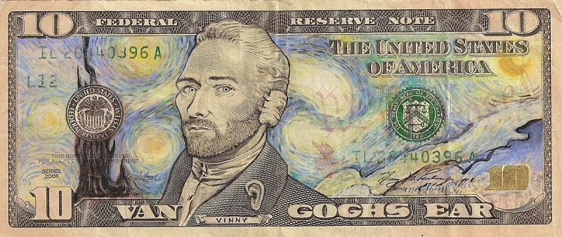 van gogh ear dollar bill currency art This Artist Transforms US Banknotes Into Hilarious Portraits