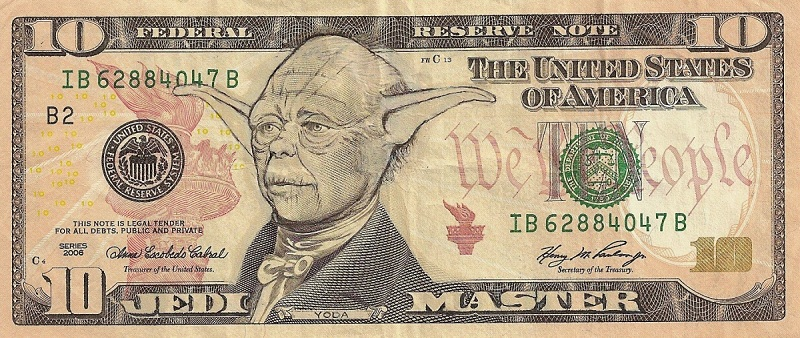 yoda dollar bill currency cash art 15 Banknotes that Show Queen Elizabeth Age from a Child to an Elderly Woman