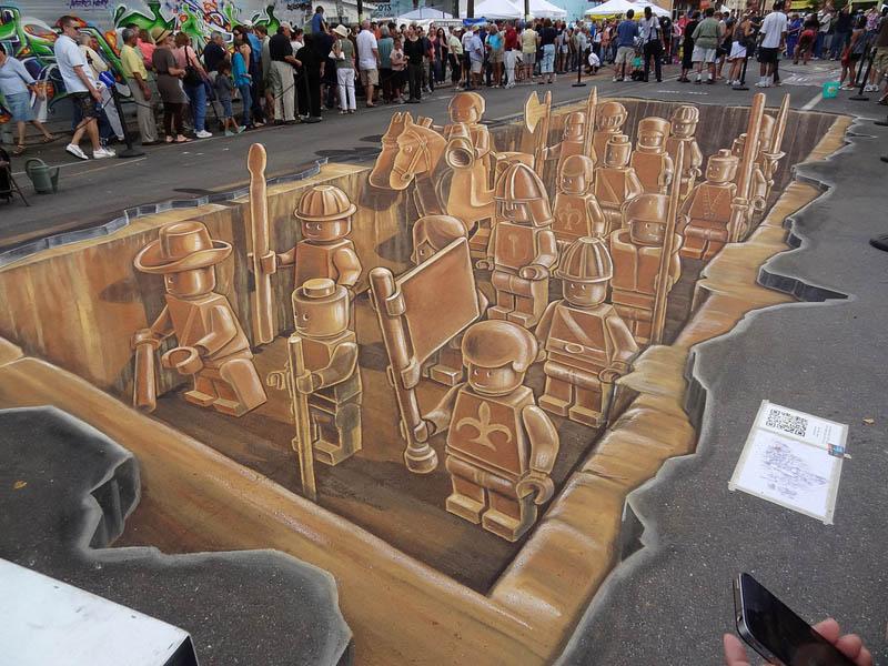3d sidewalk chalk art lego terracotta warriors army 1 3D Sidewalk Art: Lego Terracotta Warriors