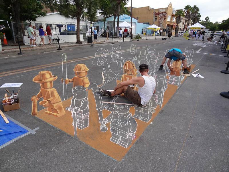 3d sidewalk chalk art lego terracotta warriors army 5 3D Sidewalk Art: Lego Terracotta Warriors